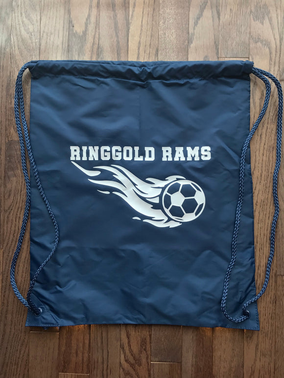 Soccer ball with flames Drawstring bag