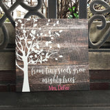 From Tiny Seeds Grows Mighty Trees Personalized Canvas, Teacher Gift
