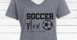 Glitter Soccer Mom V neck Tshirt with Personalization