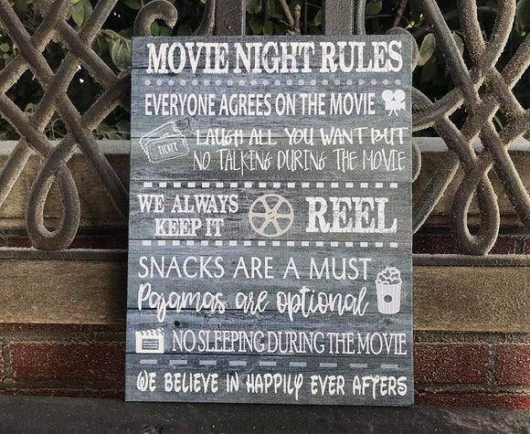 Movie Night Rules Canvas