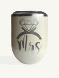 Set of Mrs and Mr Wine Tumbler with Straw Gold or Silver Vinyl
