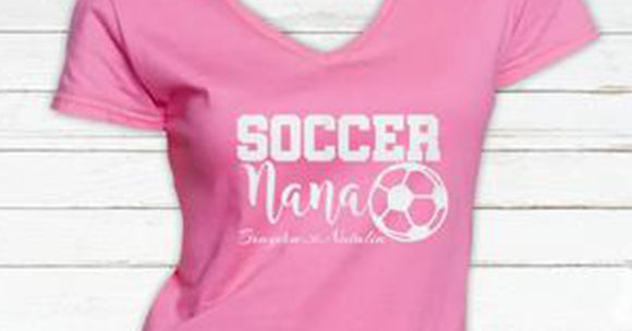 Glitter Soccer Nana V neck Tshirt with Personalization
