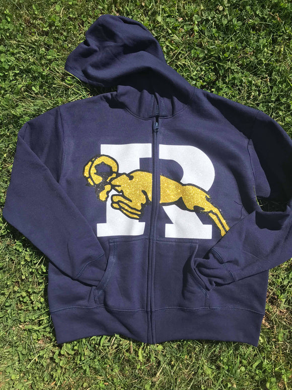 Ringgold glitter zip up navy blue hoodie with front pockets