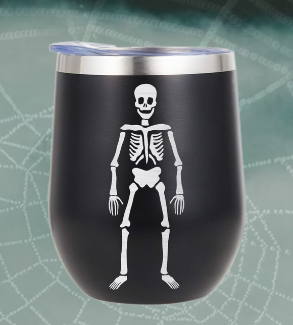 Skeleton Wine Tumbler with Straw