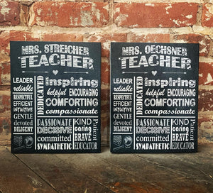 Chalkboard Style Teacher Appreciation Personalized End of School Year Gift