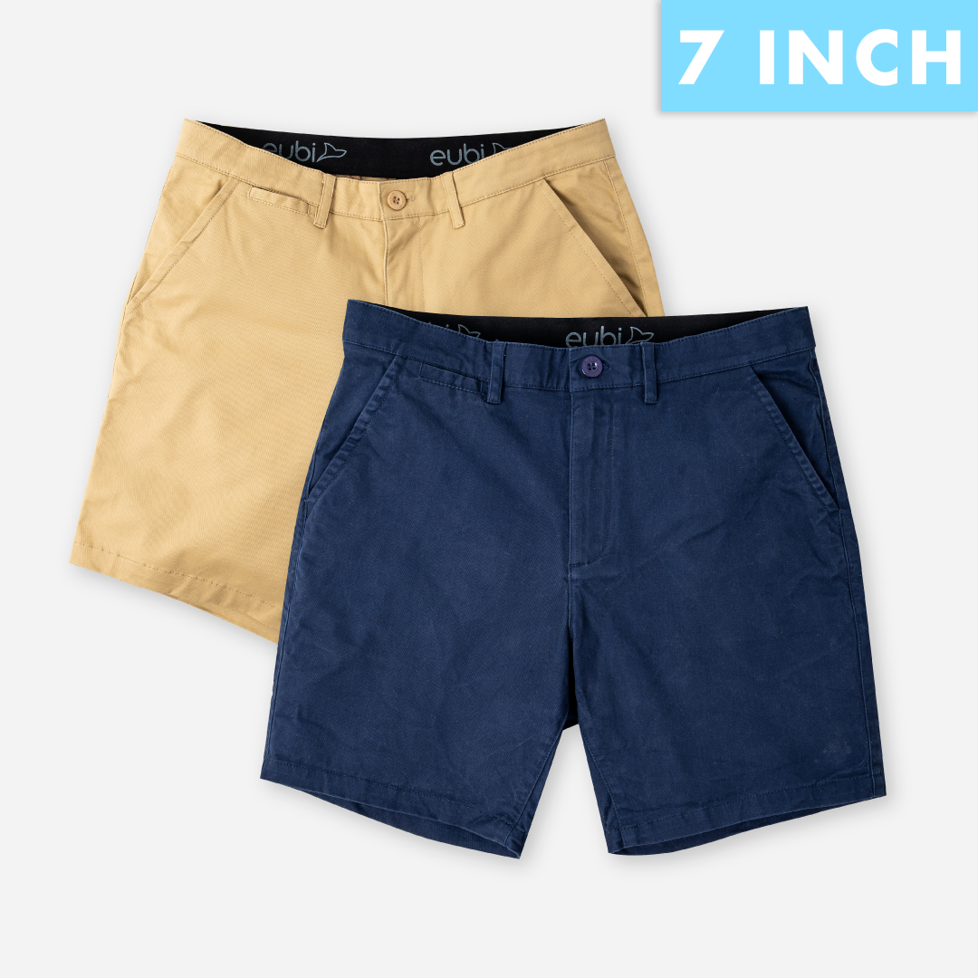 Khaki Brown + Midnight Blue All Day Shorts 2.0 (Stretch) Duo Packs