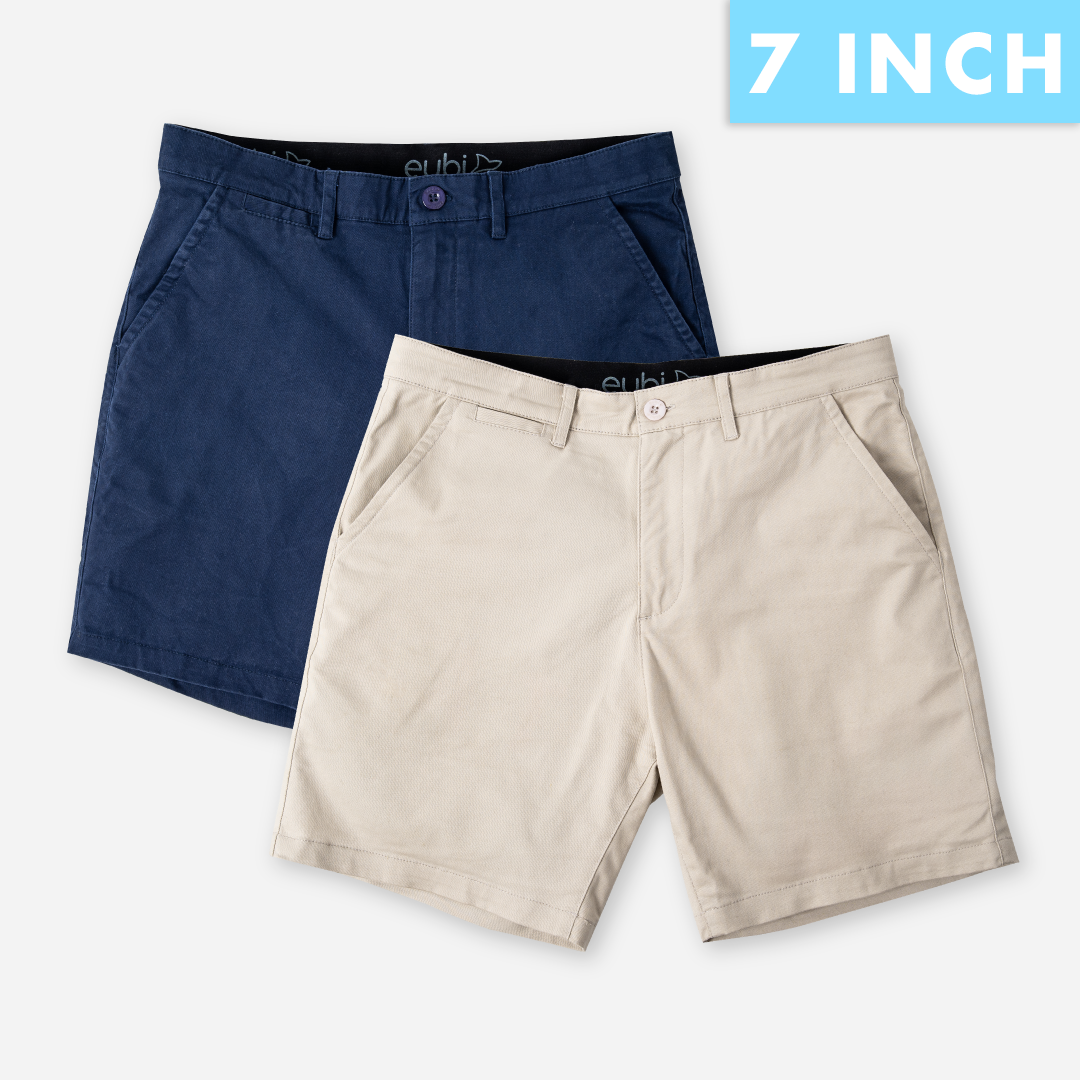 Midnight Blue + Sandy Brown All Day Shorts 2.0 (Stretch) Duo Packs