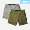 [SALE] Ash Grey + Olive Green All Day Shorts 2.0 (Stretch) Duo Pack