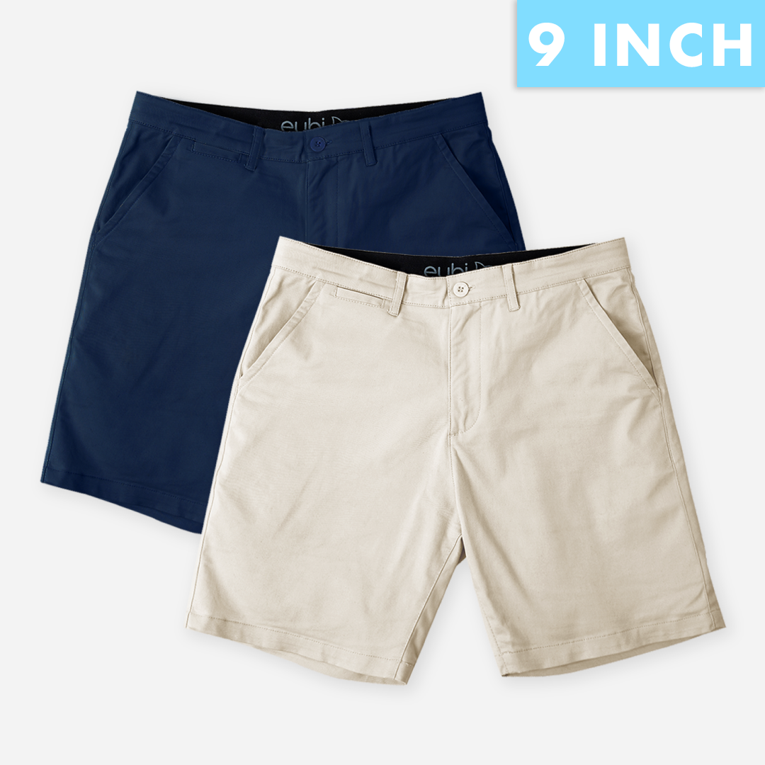 "9"" Midnight Blue + Sandy Brown All Day Shorts 2.0 (Stretch) Duo Packs"