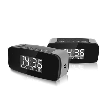 Alarm Clock with Wi-Fi Control and 1080P HD capability Built in Camera Digital Clock Weather Sleek Black Spy Covert Undetectable Camera