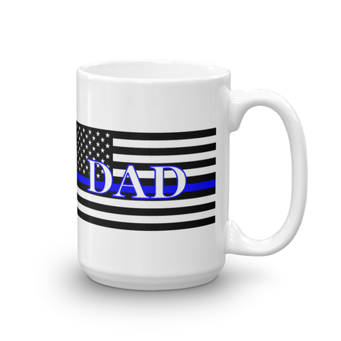 Thin Blue Line DAD Coffee Mug White