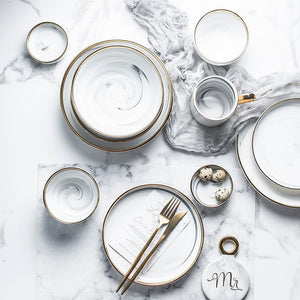 Gold-Plated Marble Ceramic Plate Collection