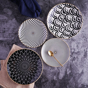Geometric Pattern Ceramic Plate Collection