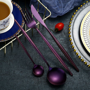 24 Pieces Purple Cutlery Set