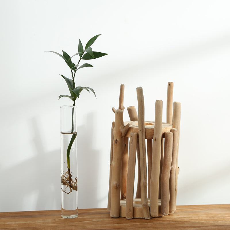 Wooden Tabletop Vase with Glass Tube