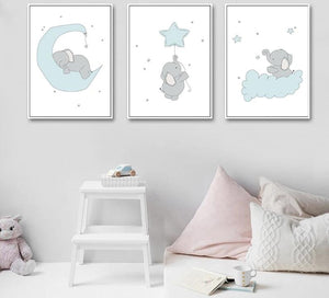 Sky Blue Elephant Wall Art