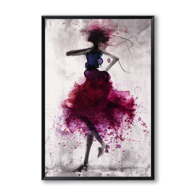 Elegant Poetry Dancing Skirt Girl Wall Art