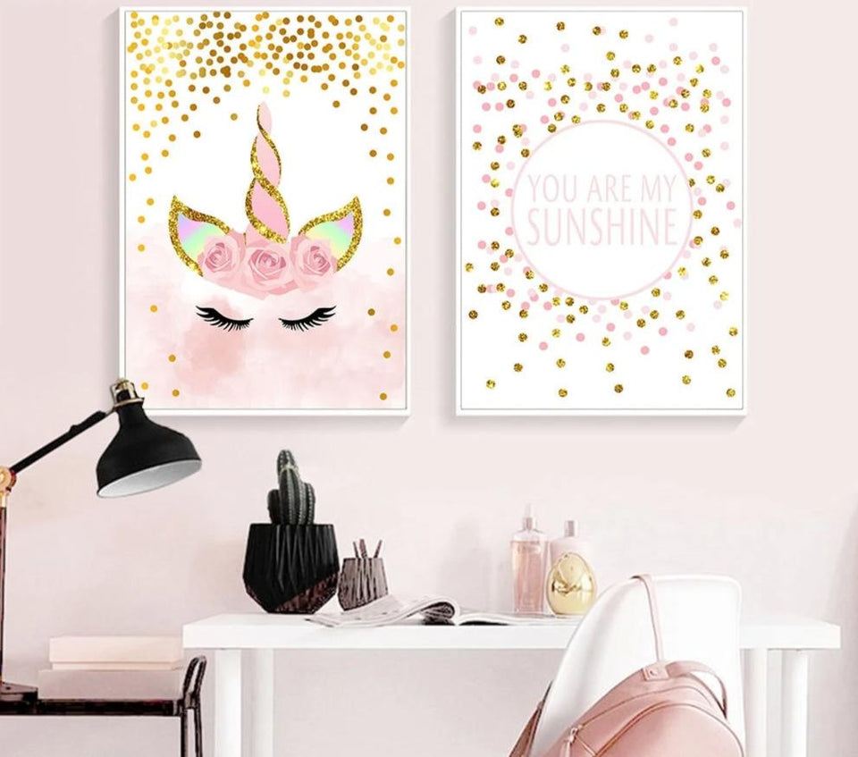 Baby Pink Unicorn Wall Art