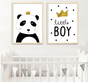 Little Boy Panda Wall Art