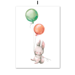 Cute Animals With Balloon Wall Art