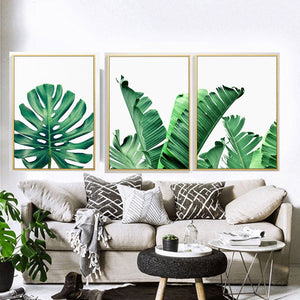 Green Leaf Print Wall Art