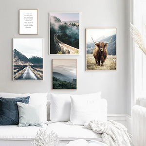 Highland Cow Mountain Wall Art