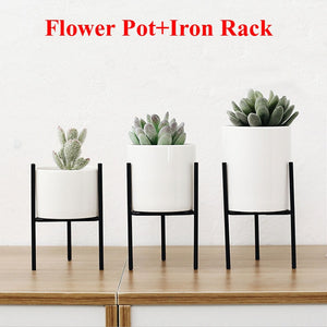 Metal Stand Ceramic Flower Pot