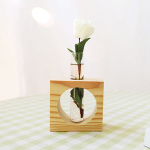 Wooden Tabletop Tube Vase