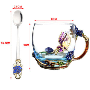 Beauty And Novelty Enamel Butterfly Drinking Cup