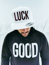 "Load image into Gallery viewer, White and Maroon ""LUCK"" Cap"
