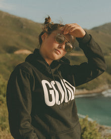 "Black Unisex Hoodie - White ""GOOD"""
