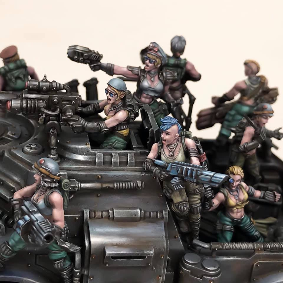 Jailbirds Troopers painted as Imperial Squad mounted on a Games Workshop vehicle