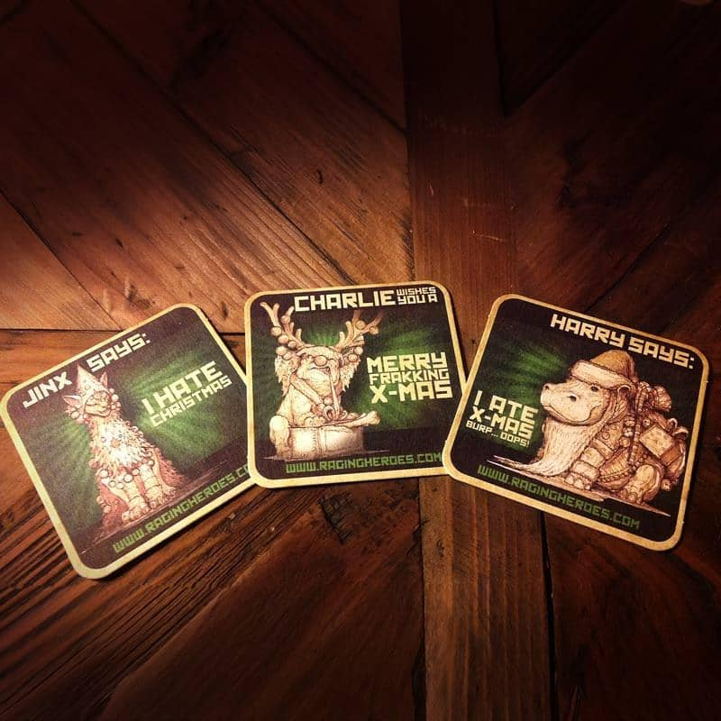 Coasters/Drink Mats - Xmas Edition - Raging Heroes