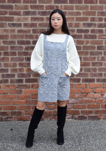 Milla Dress, tweed like material that is comfy and stretchy. Available in blue denim.