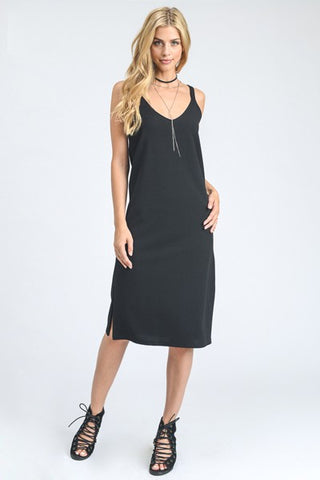 Chloe Midi tank dress in black with slits on the side.