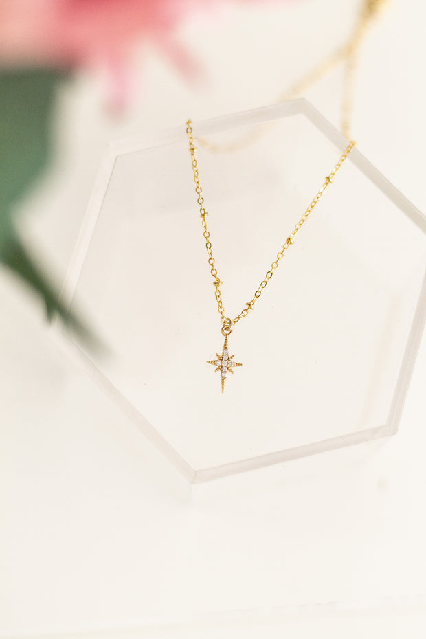 Celestial CZ North Star Necklace