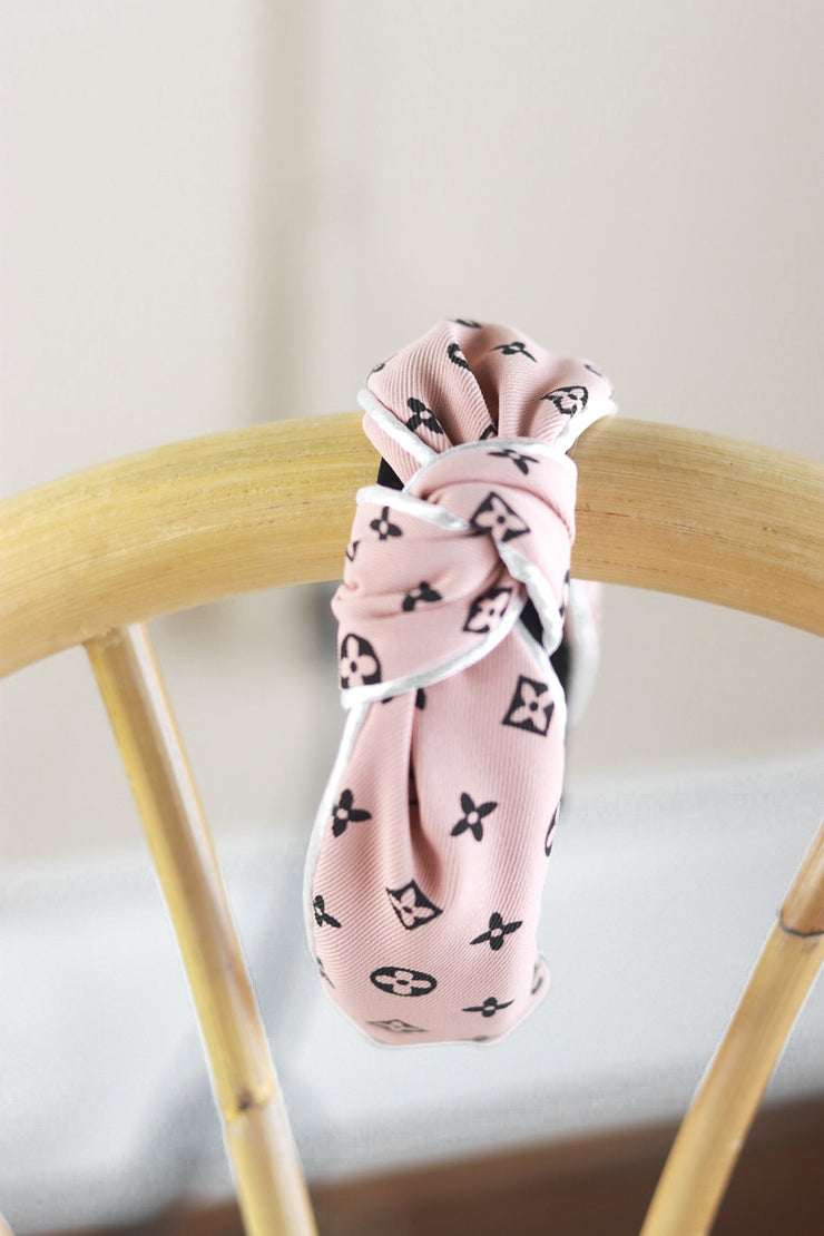 Pink & White Letter Printed Knot Cotton Headband