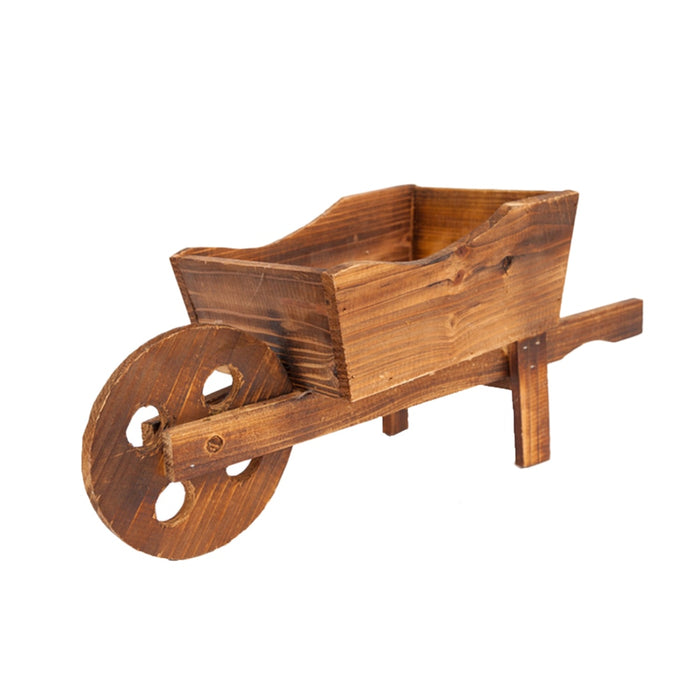 Wagon Planter - Wooden Flower Cart Wheelbarrow for Garden
