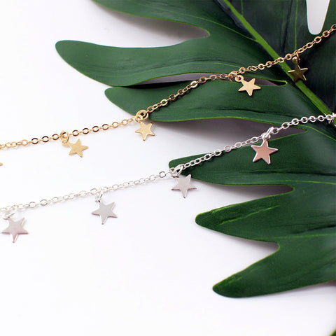 Trendy Boho Hippie Necklace Choker - Silver or Gold Color Gypsy Feed with Stars and Moon