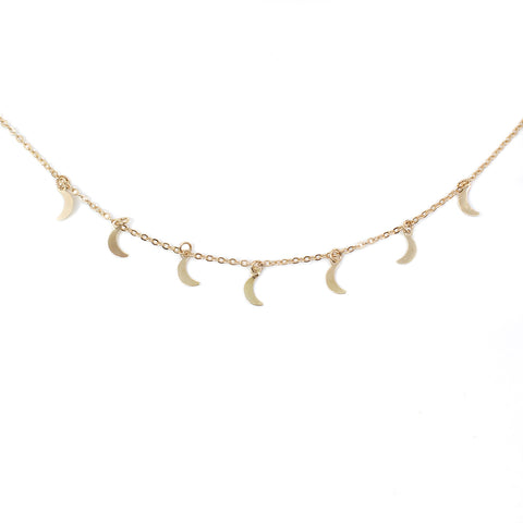 Image of Trendy Boho Hippie Necklace Choker - Silver or Gold Color Gypsy Feed with Stars and Moon