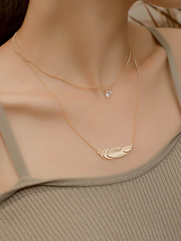 Gold Sideways Feather Pendant Necklace with Layered Chain - Boho Style