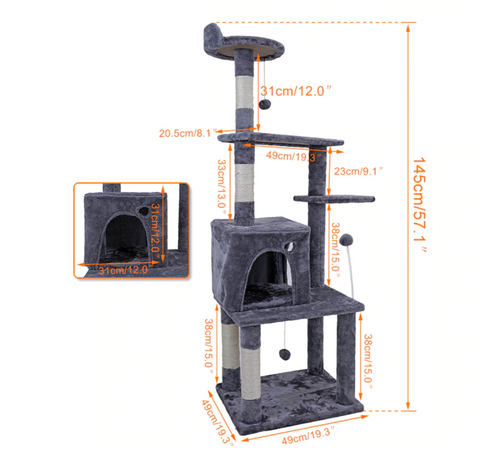 "Deluxe 57"" Cat Tree Condo with Scratch Post, Jumping Toy, and Ladder"