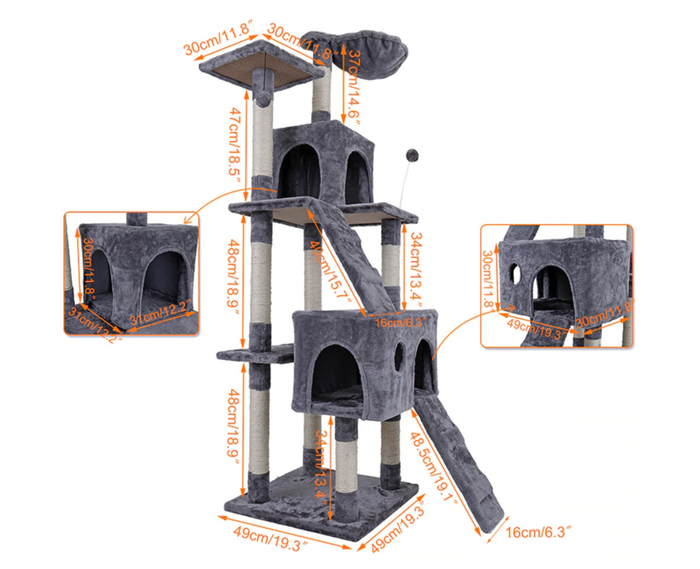 'All-in-One' Large Cat Tree Condo Set Furniture with Scratching Post, Ladder, Condo and More