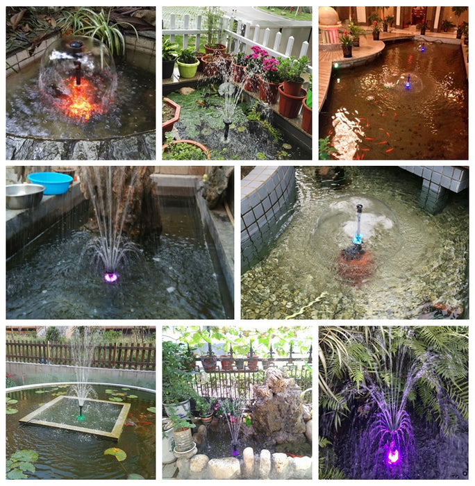 Submersible Water Pump for Fountains - 45W, 3500 l/h with LED Flashing Color Lights