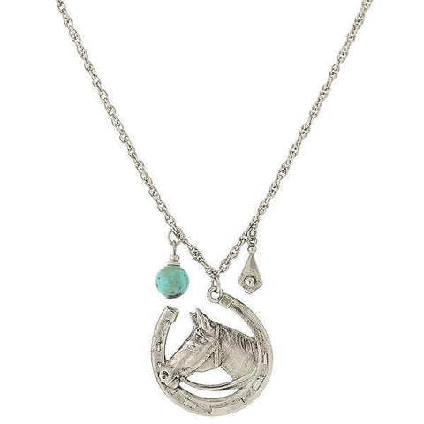 Horse and Horseshoe Chic Necklace with Turquoise Accent and Chain