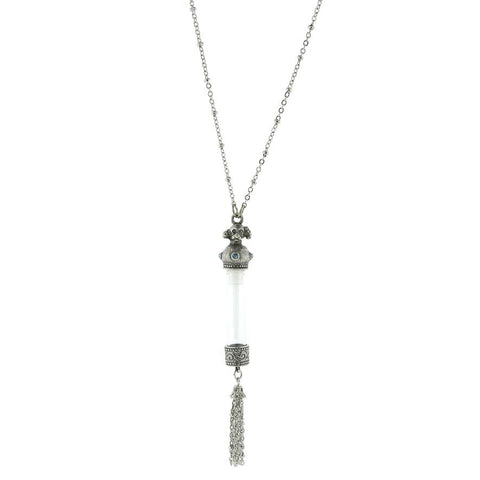Dog Ashes Necklace - Silver Pewter Dog Memorial Necklace with Vial and Blue Crystal