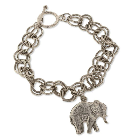 Elephant Charm Toggle Bracelet - Pewter Silver Color with Elephant Pendant