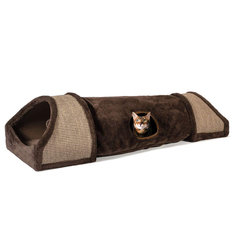 Image of Large Cozy Cat Tunnel with Sisal Scratch Pads - Cat Toy Tube Doubles as Soft, Warm Bed, Hideaway, and Cat Scratcher (for Kittens, Rabbits and Small Dogs)