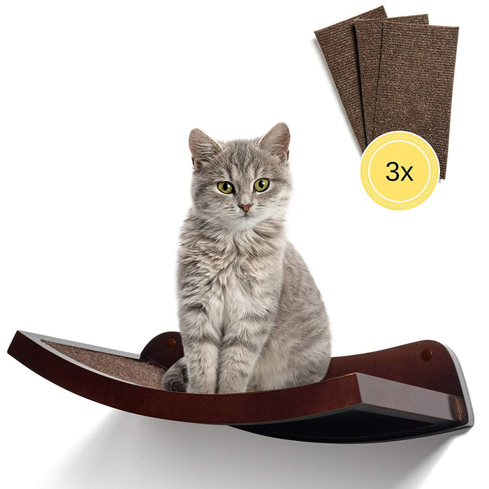 "HumaneGoods 19"" Cat Wall Shelf - Wall-Mounted, Floating Perch with 3X Replaceable Scratch Pads for Adult Cats"