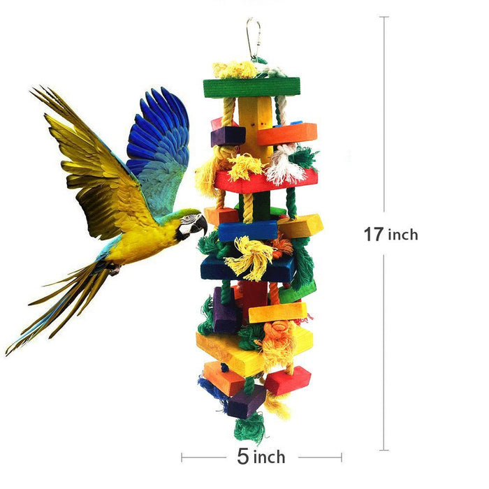 "Ultimate Parrot Gnawing Toy - Big 17"" Wood Block Gnawing Rope Toy for Birds"